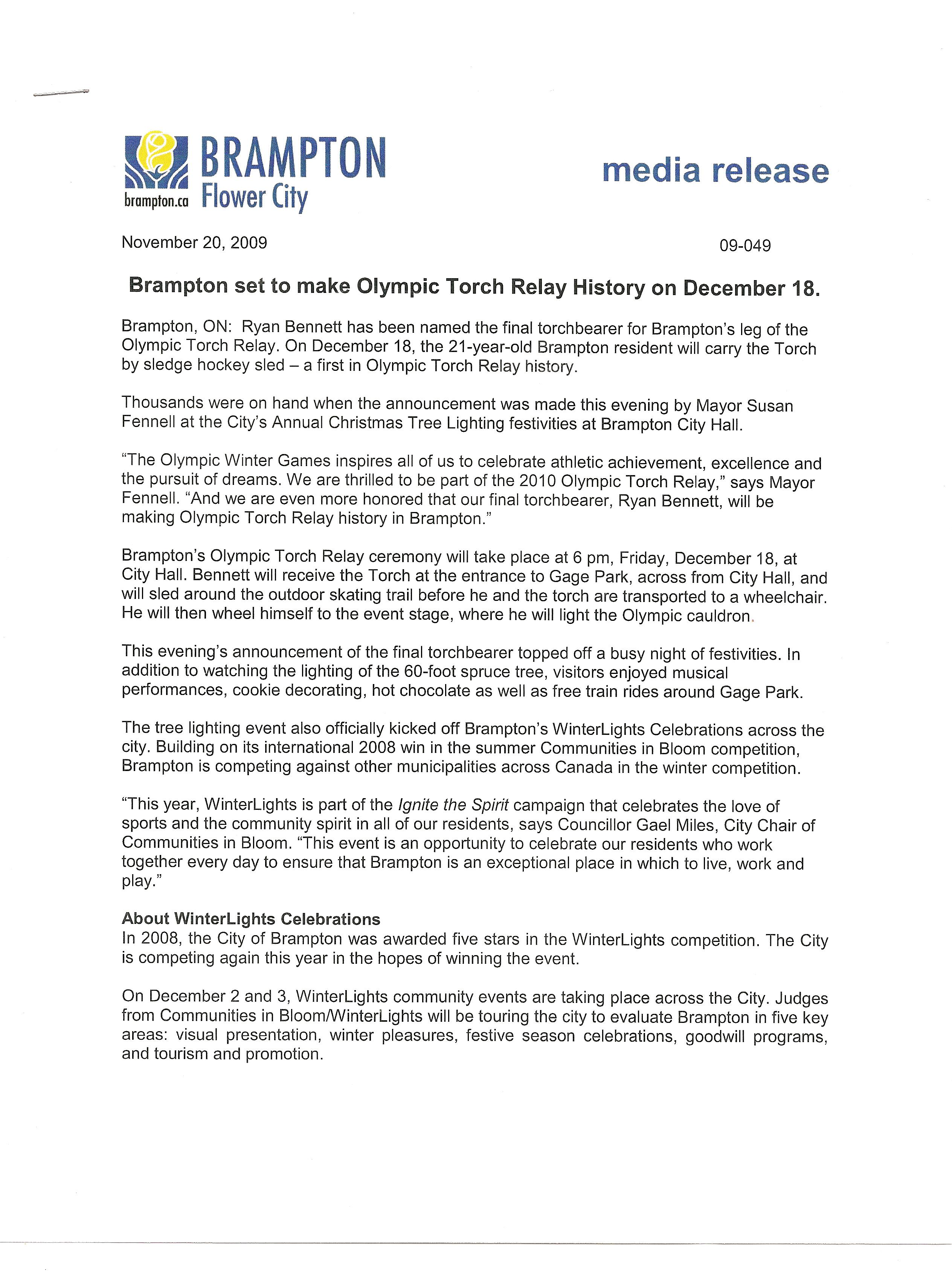 Brampton Flower City Media Release