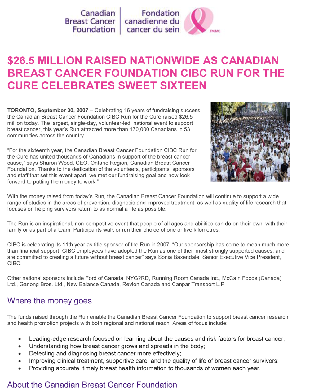 Canadian Cancer Society Media Release