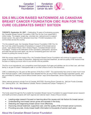 Canadian Brest Cancer Foundation – CIBC Run for the Cure
