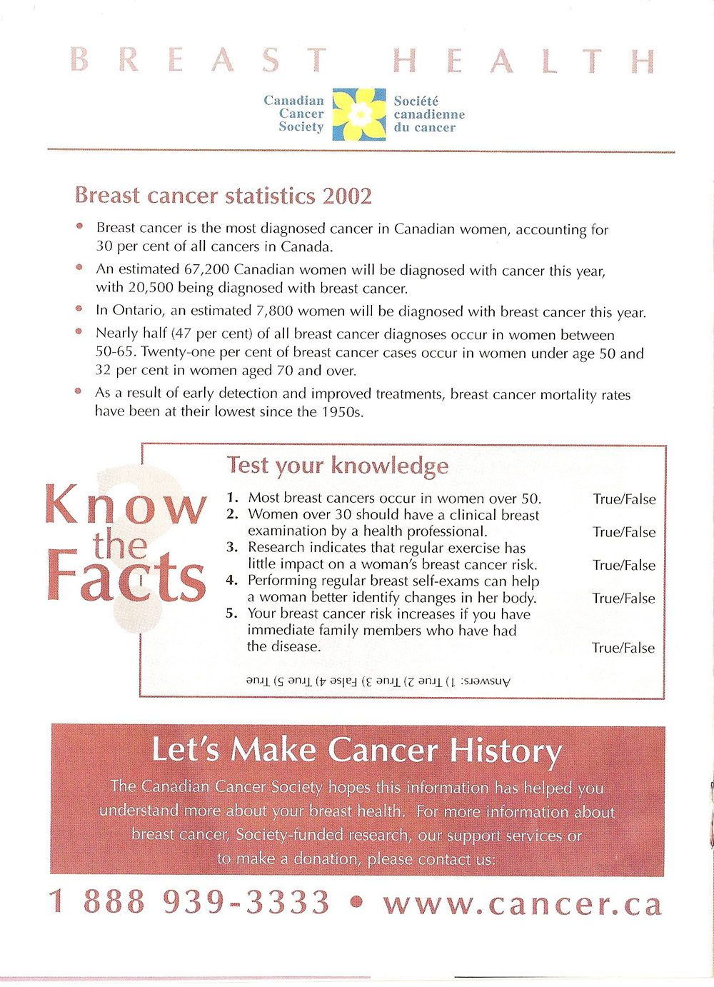 Canadian Cancer Society Breast health