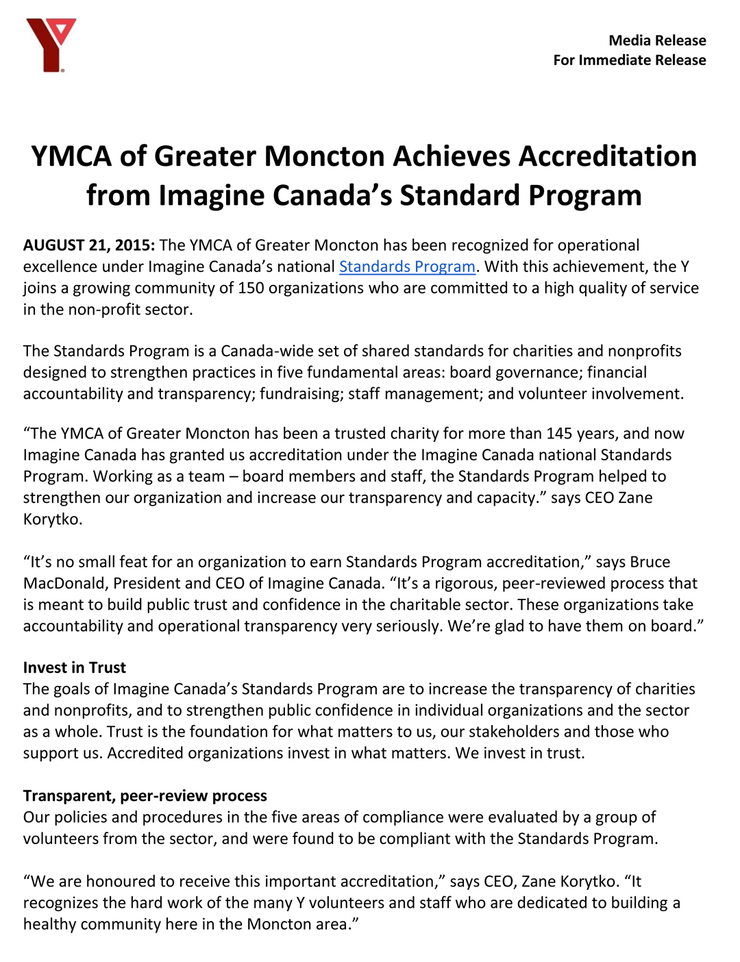 YMCA - Imagine Canada Program - August 2015